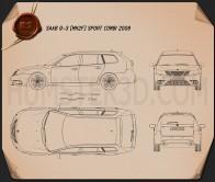 Saab 9-3 Sport Combi 2008 Blueprint