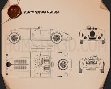 Bugatti Type 57G Tank 1936 Blueprint