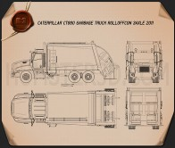 Caterpillar CT660 Rolloffcon Garbage Truck 2011 Blueprint