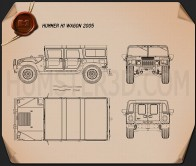 Hummer H1 wagon 2005 Blueprint