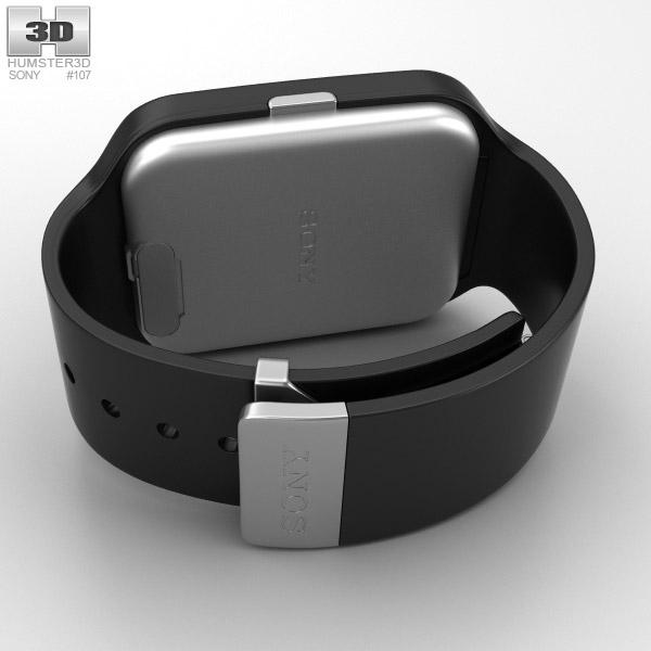 sony smartwatch 3 swr50 black 3d model hum3d. Black Bedroom Furniture Sets. Home Design Ideas