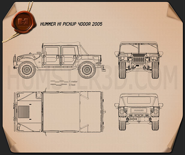 Hummer H1 pickup 2005 Blueprint