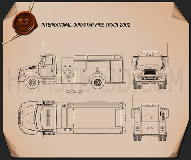 International Durastar Fire Truck 2002 Blueprint
