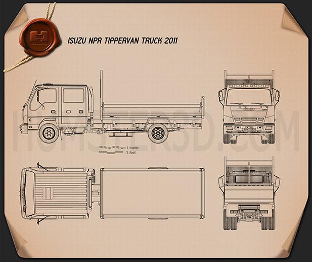 Isuzu NPR Tipper Van Truck 2011 Blueprint