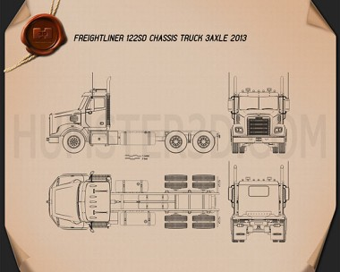 Freightliner 122SD Chassis Truck 2013 Blueprint