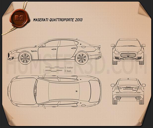 Maserati Quattroporte 2013 Blueprint