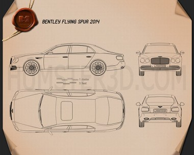 Bentley Flying Spur 2014 Blueprint