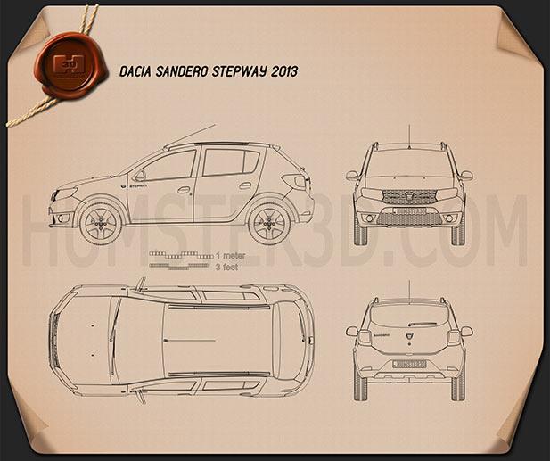 Dacia Sandero Stepway 2013 Blueprint Hum3d