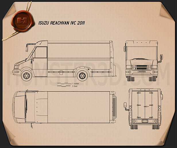 Isuzu Reach Van IVC 2011 Blueprint