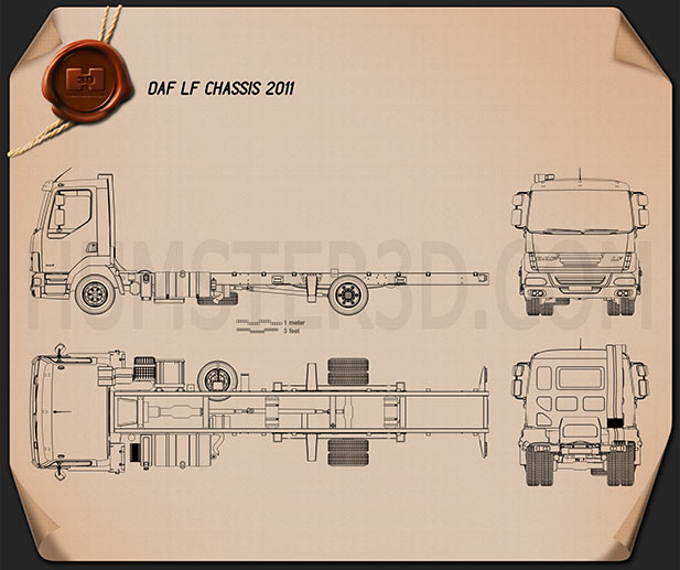 DAF LF Chassis Truck 2011 Blueprint