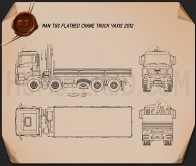 MAN TGS Flatbed Crane Truck 2012 Blueprint