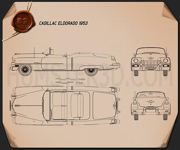 Cadillac Eldorado Convertible 1953 Blueprint