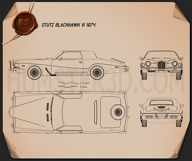 Stutz Blackhawk IV 1974 Blueprint