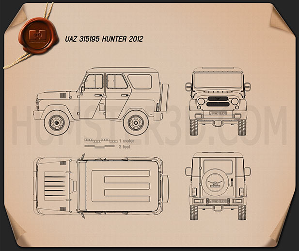 UAZ Hunter (315195) 2012 Blueprint