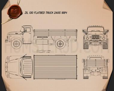 ZIL 130 Flatbed Truck 1964 Blueprint
