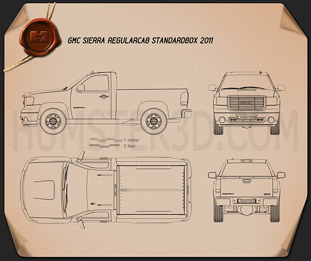 GMC Sierra Regular Cab Standard Box 2011 Blueprint