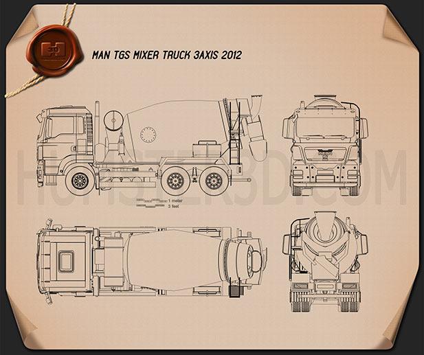 MAN TGS Mixer Truck 2012 Blueprint