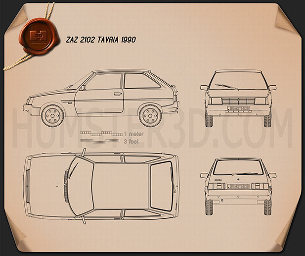 ZAZ Tavria (1102) 1990 Blueprint