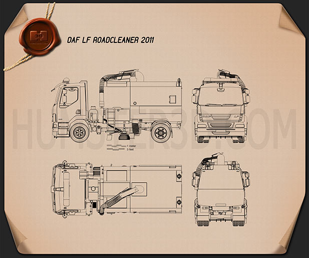 DAF LF Road Cleaner 2011 Blueprint