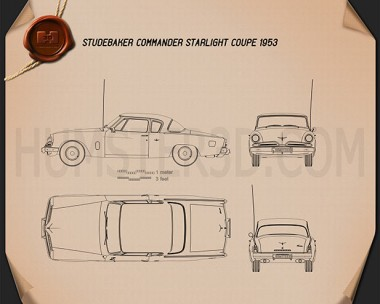 Studebaker Champion (Commander) Starlight Coupe 1953 Blueprint