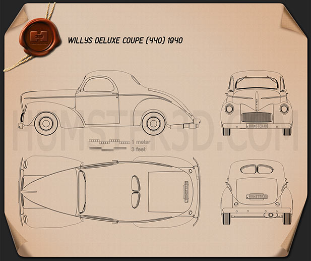Willys Americar DeLuxe Coupe 1940 Blueprint