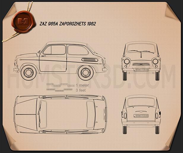 ZAZ 965A Zaporozhets 1962 Blueprint