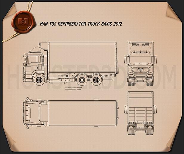 MAN TGS Refrigerator Truck 2012 Blueprint