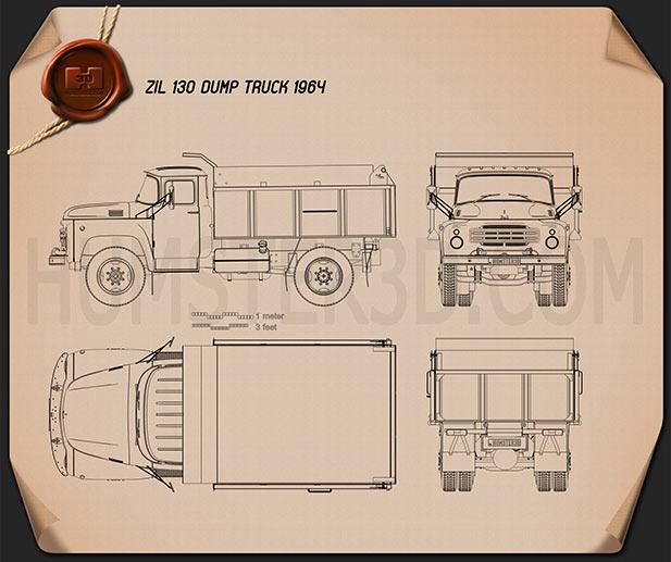 ZIL 130 Dump Truck 1964 Blueprint