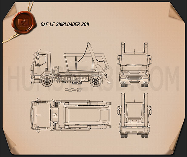 DAF LF Skip Loader 2011 Blueprint
