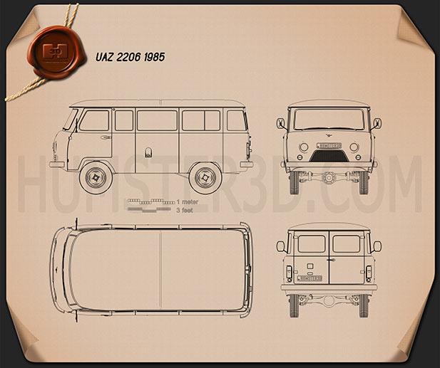 UAZ 452 (2206) 1985 Blueprint