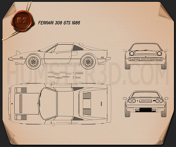 Ferrari 308 GTS 1975 Blueprint