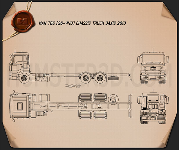 MAN TGS Chassis Truck 2012 Blueprint