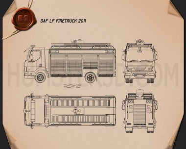DAF LF Fire Truck 2011 Blueprint