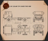 DAF Leyland T244 Chassis Truck 1989 Blueprint