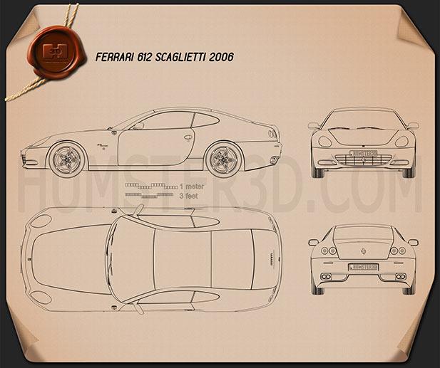 Ferrari 612 Scaglietti 2006 Blueprint