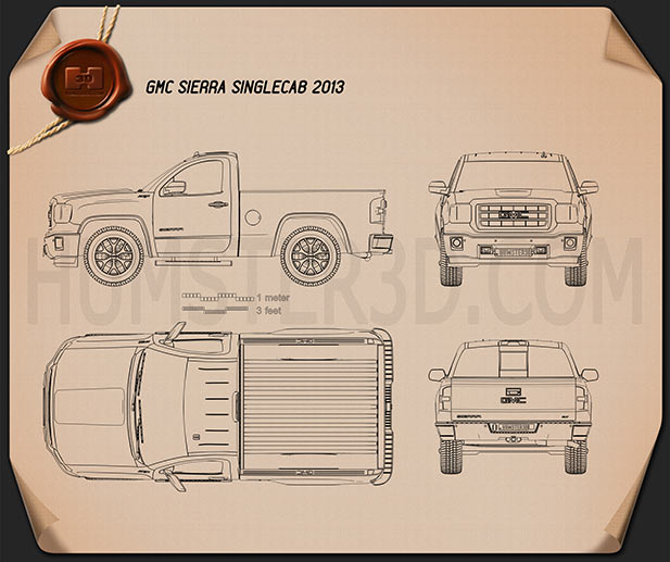 GMC Sierra Single Cab 2013 Blueprint