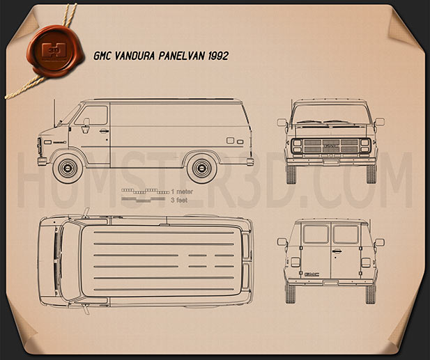 GMC Vandura Panel Van 1992 Blueprint
