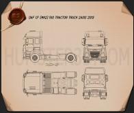 DAF CF Tractor Truck 2013 Blueprint