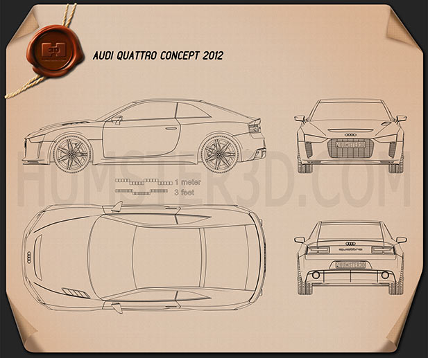 Audi Quattro Concept 2012 Blueprint 3d model