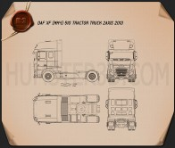 DAF XF Tractor Truck 2013 Blueprint