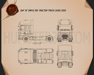 DAF XF Tractor Truck 2013 Blueprint