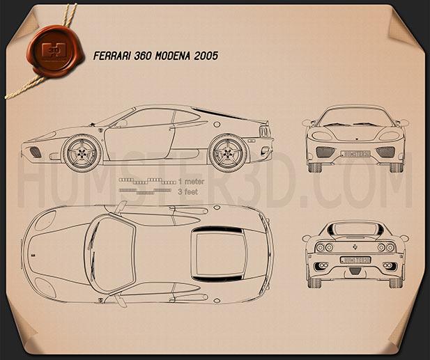 Ferrari 360 Modena 2005 Blueprint