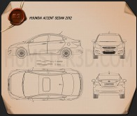 Hyundai Accent (i25) Sedan 2012 Blueprint