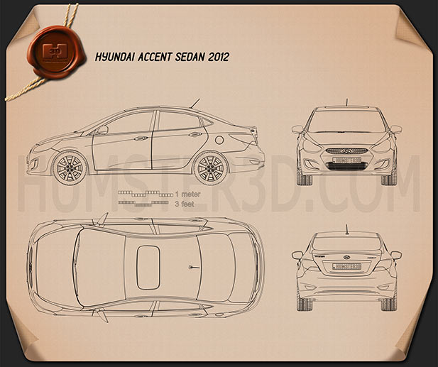 Hyundai Accent (i25) Sedan 2012 Blueprint