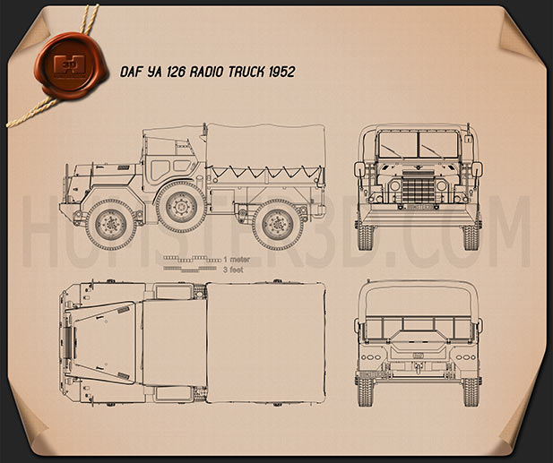 DAF YA-126 Radio Truck 1952 Blueprint