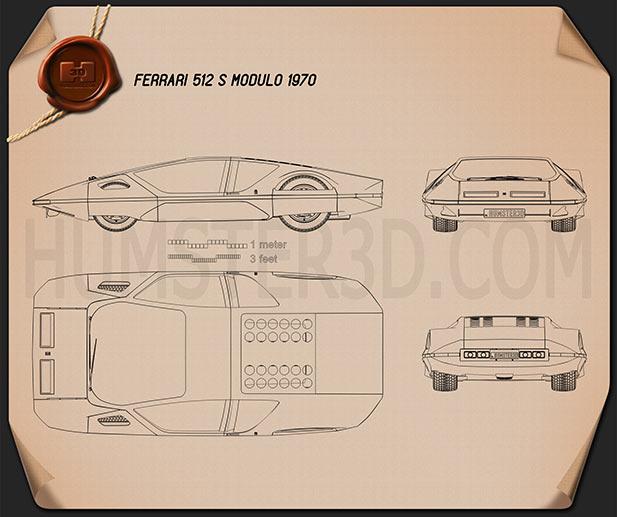 Ferrari 512 S Modulo 1970 Blueprint