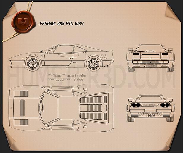 Ferrari 288 GTO 1984 Blueprint