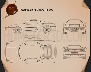Ferrari F355 F1 Berlinetta 1999 Blueprint