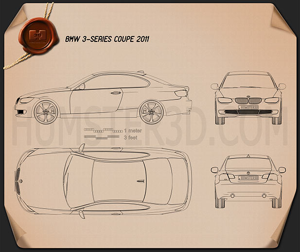 BMW 3 series Coupe 2011 Blueprint