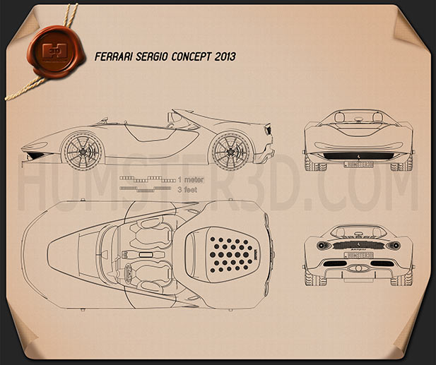 Ferrari Pininfarina Sergio 2013 Blueprint